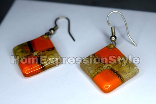 Glass Earrings with Orange and Light Brown