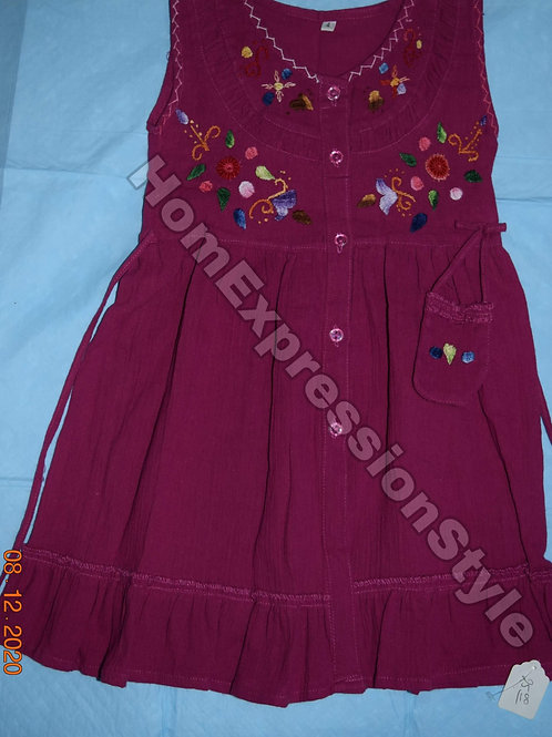 Purple Embroidered Ecuadorian Dress for Girls (Size 4T)