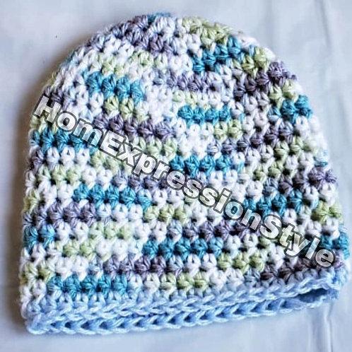 Crochet: 0-3 months old Neutral colors Beanie