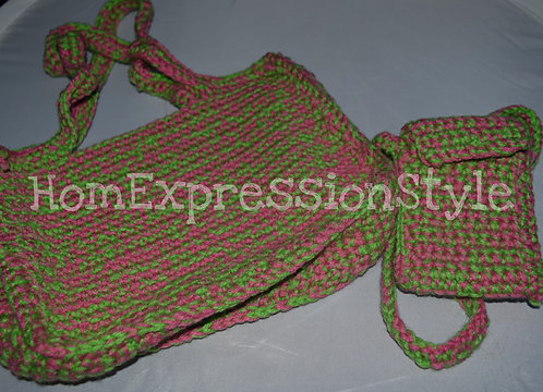 Eclectic Green and Pink Purse and Cellphone Holder Set