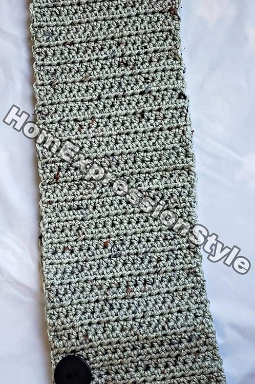 Scarf with Buttons Grey/Green