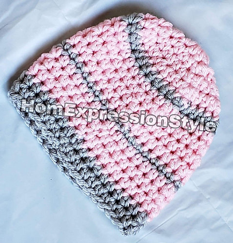 0-3 Month Old Pink and Grey Beanie