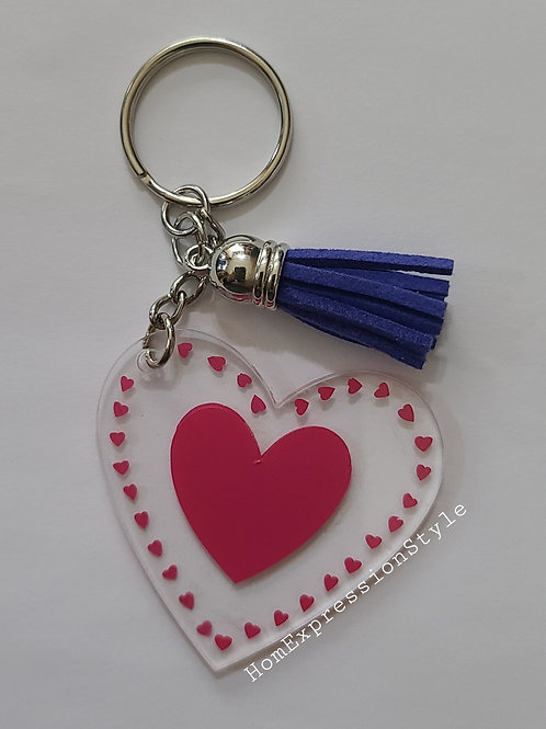 Heart and more hearts key chain