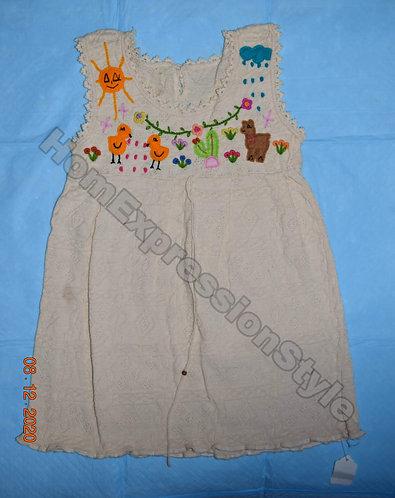 Beige Hand-Embroidered Ecuadorian Toddler Dress (Size 3T)