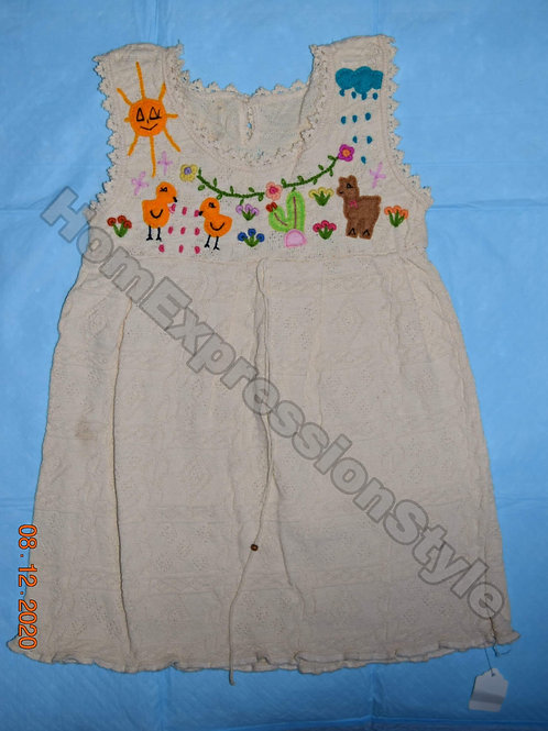 Beige Hand-Embroidered Ecuadorian Toddler Dress (Size 3T)