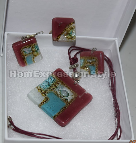Glass Square Purple Blue and White Colors Necklace, Earrings and Ring set