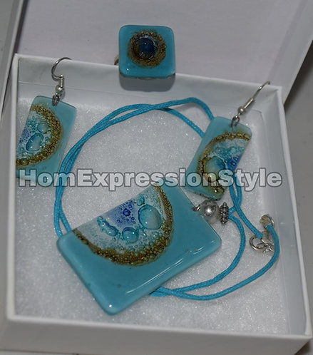 Glass Light Blue Colors Necklace, Earrings and Ring set
