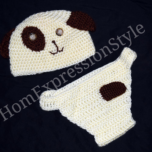 Woof Woof Diaper Cover and Hat Set