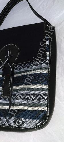 Black and Gray Leather Ecuadorian Satchel