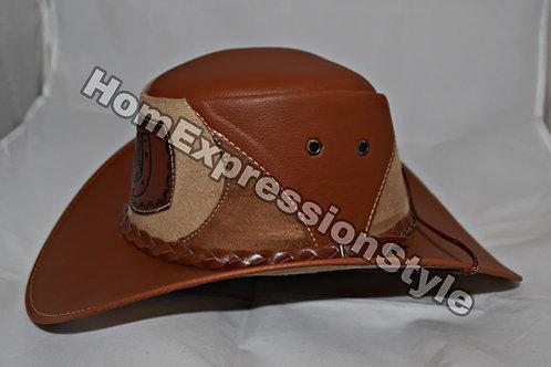 Horse Shoe Light Brown Ecuador Leather Hat