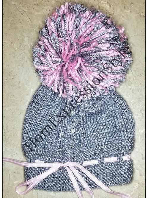 Pom-pom Princess Baby Hat (0-6 Months)