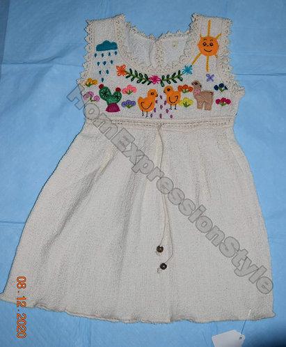 Beige Hand-Embroidered Ecuadorian Girls' Dress (Size 1)
