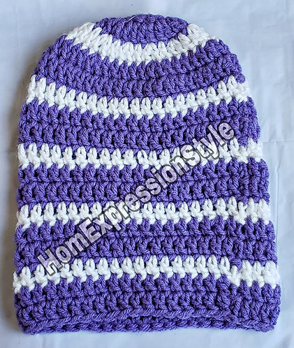 Purple and White Striped Beanie (6-9 Months)
