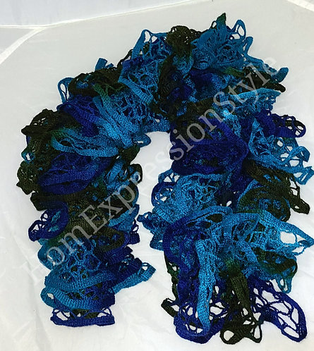 Shades of Blue Layered Crocheted Scarf