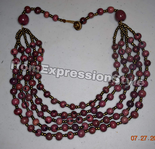 Handmade Brown Seed Collar Small Round Neck