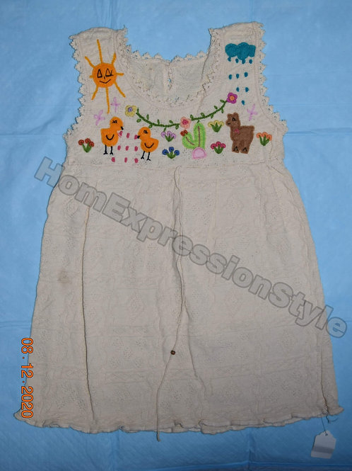 Beige Ecuadorian Hand Embroidered Dress for a 1 Year Old