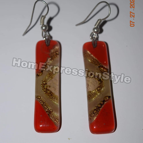 Glass Earrings color Orange and Brown