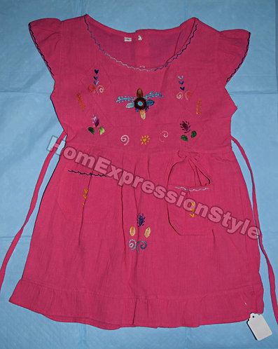Pink Embroidered Ecuadorian Dress for Toddlers (Size 4T)