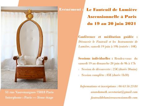 Evénement : Le Fauteuil de Lumière à Paris du 19 au 20 juin 2021