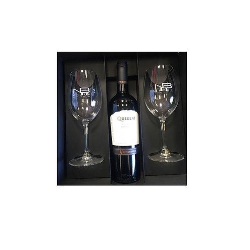 2 Copas vino tinto + Botella de vino