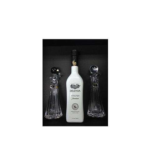 2 Alcuzas de cristal  + Aceite de Oliva