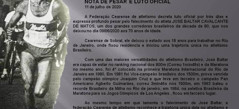 Nota da Federação Cearense de Atletismo