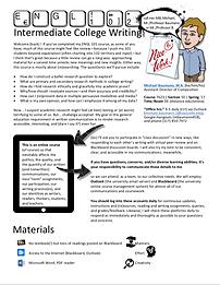 English 102: Intermediat College Writing syllabus