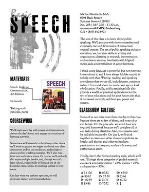 Speech syllabus and schedule