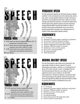 Speech sample assignment sheets