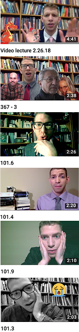 Strip of YouTube video thumbnails: Dr. Michael Baumann online video lectures