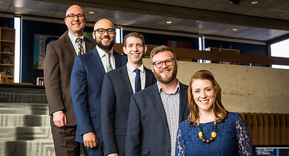The Comunicaton Department faculty at Marian University. From the top: Dr. George LaMaster, Professor Drew Stewart, Dr. Michael Baumann, Dr. Kyle Kellam, and Dr. Anna Zimmerman. Not pictured: our newest facuty member, Dr. Marilda Oviedo.