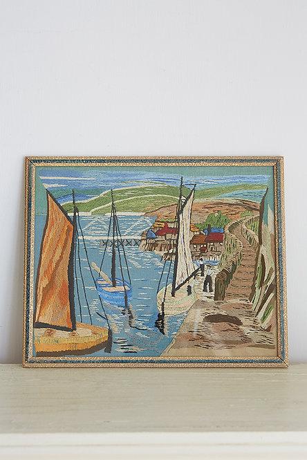 OK5216 - Vintage Embroidered Harbour Scene
