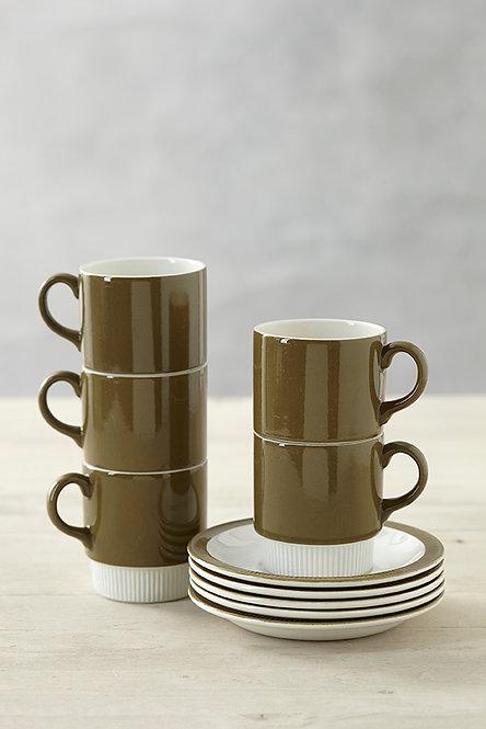 OK4919 - Five Poole Cups & Saucers