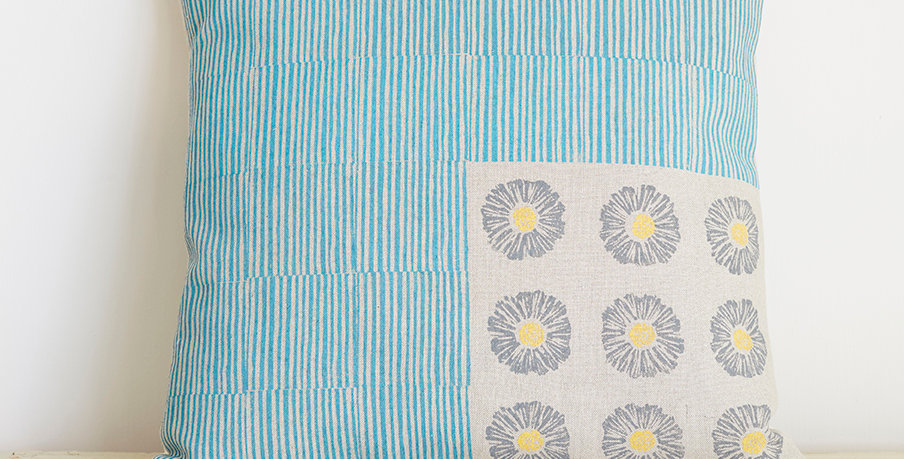 Agnes with Flowers (Bright Blue/Yellow/Grey)