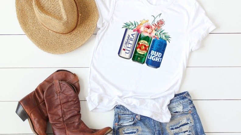 Floral Beer Cans - Michelob Ultra, Dos Equis, Bud Light Tee