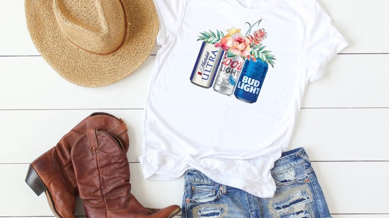 Floral Beer Cans - Michelob Ultra, Coors Light, Bud Light Tee