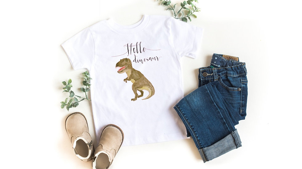Hello Dinosaur T-Rex Toddler and Youth Tee