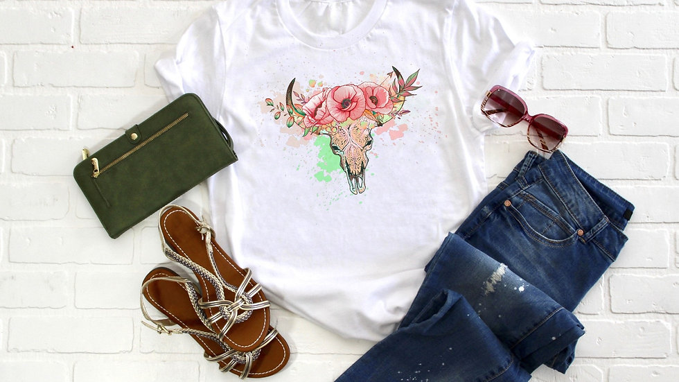 Floral Cattle Skull Tee