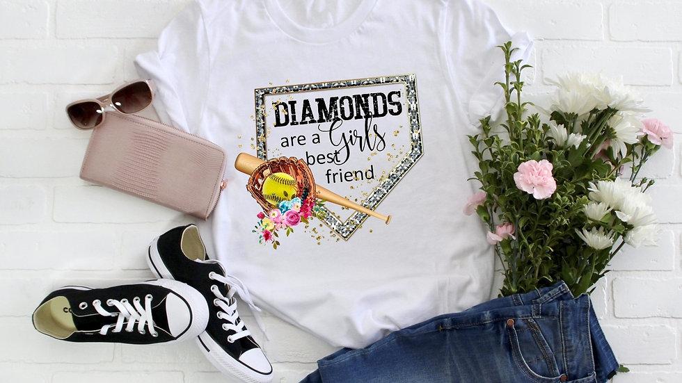 Diamonds Are A Girls Best Friend Softball Tee