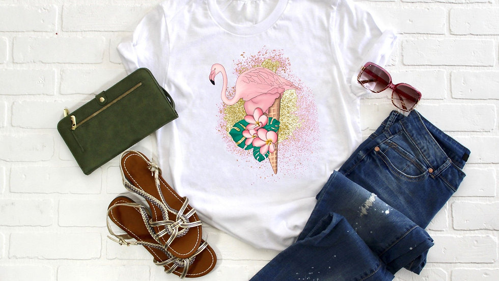 Ice Cream Flamingo Tee