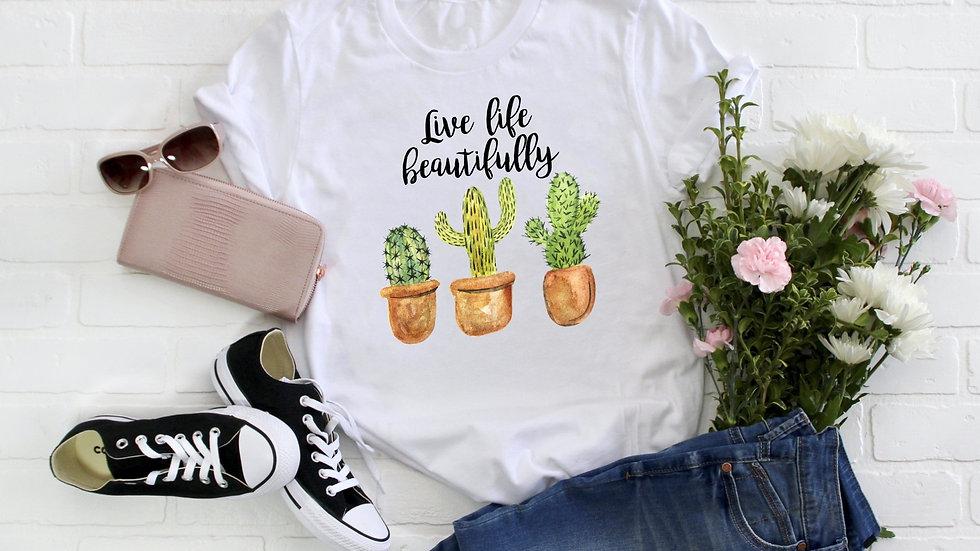 Live Life Beautifully Cactus Tee