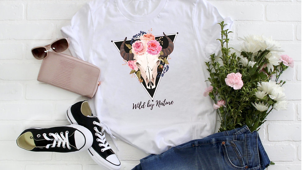 Wild by Nature Cattle Skull Tee