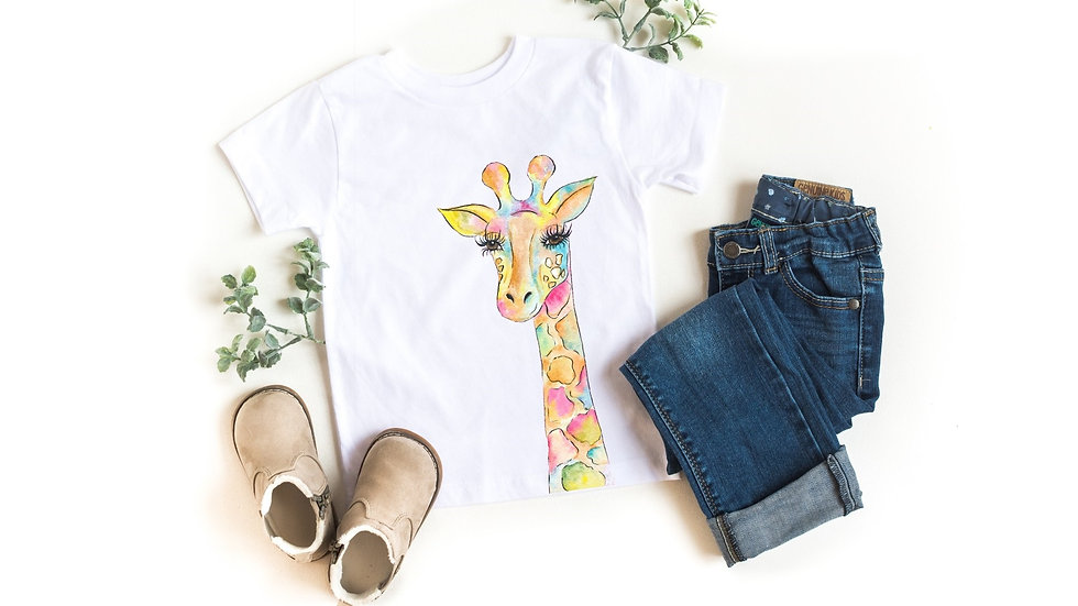Watercolor Giraffe Toddler and Youth Tee