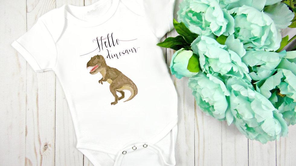Hello Dinosaur T-Rex Baby Bodysuit