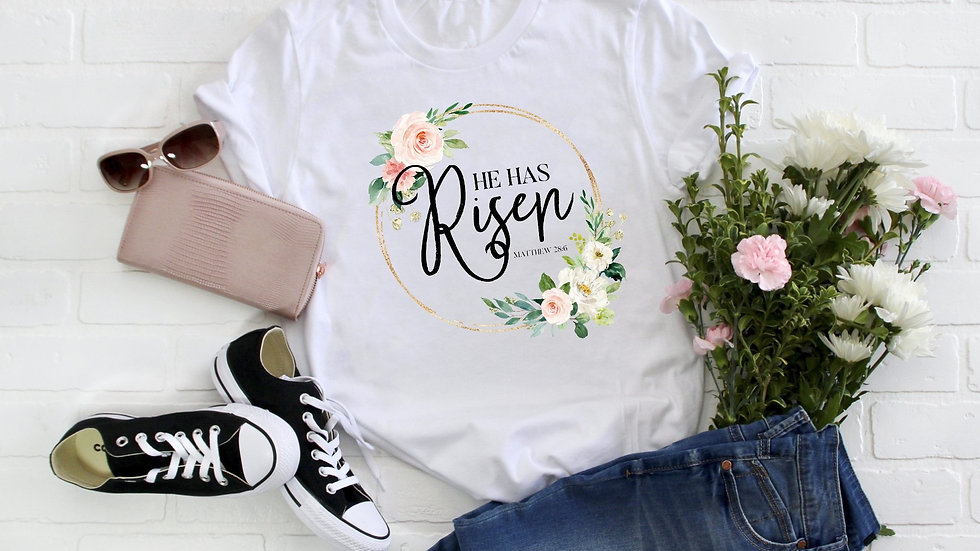 He Has Risen Floral Tee