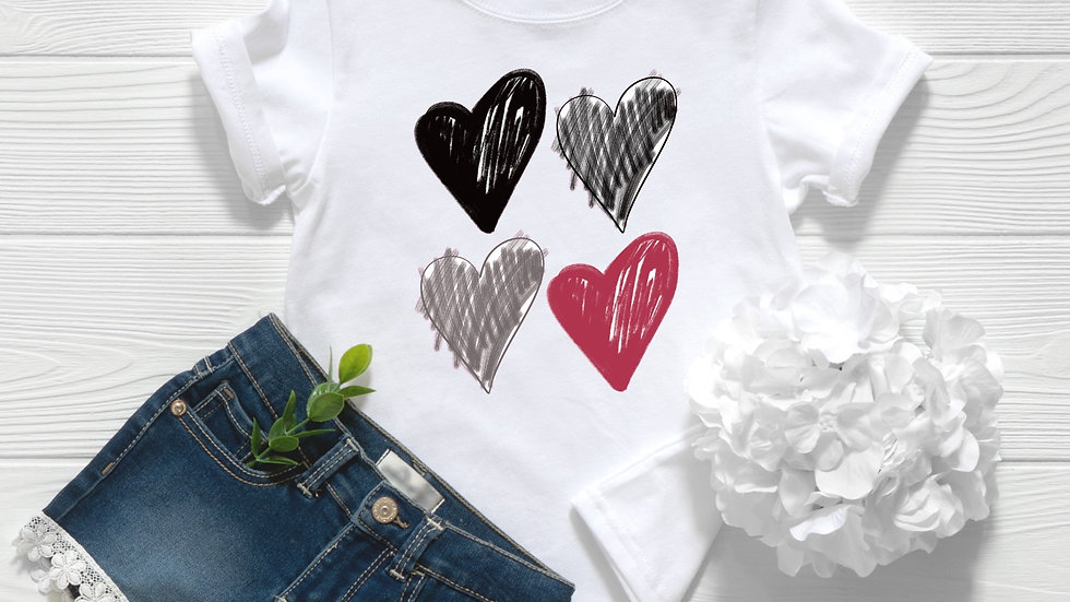 Sketch Hearts Toddler and Youth Tee