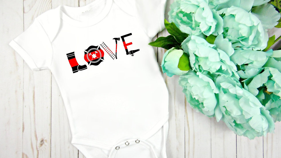 Thin Red Line Firefighter Love Baby Bodysuit