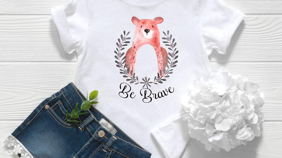 Be Brave Woodland Bear Toddler and Youth Tee