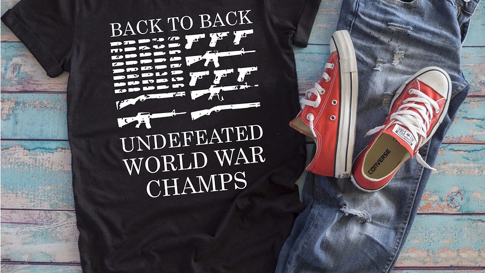 Patriotic Back to Back Undefeated World War Champ Tee