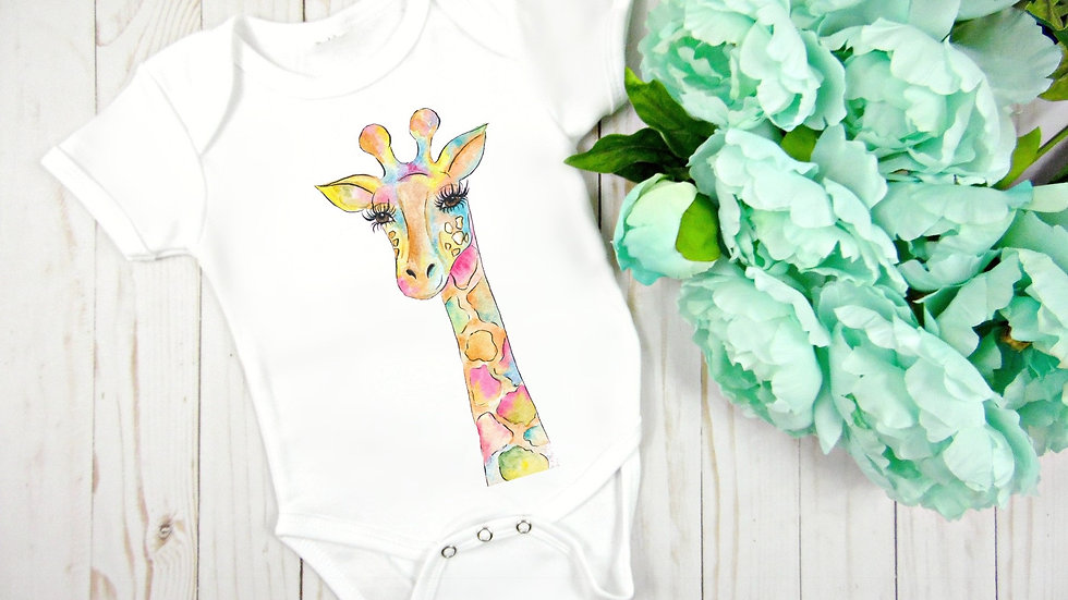 Watercolor Giraffe Baby Bodysuit